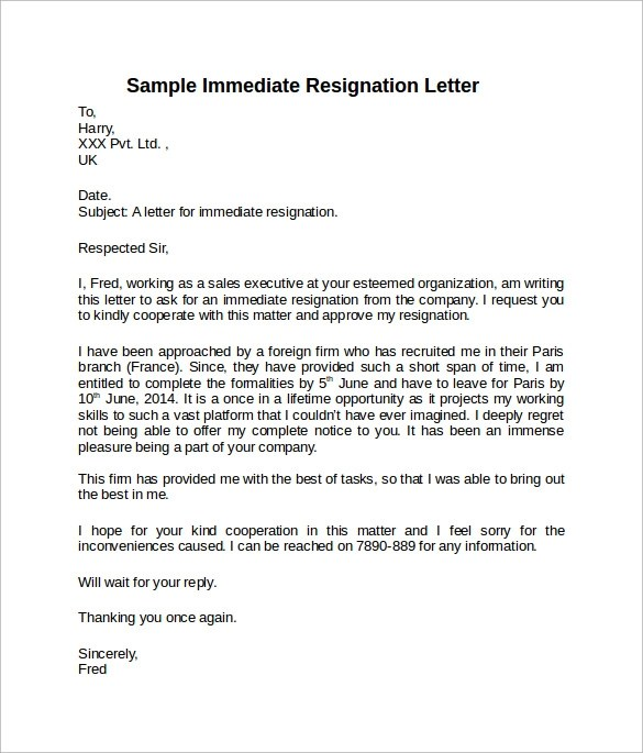 Resignation Letter Sample Short Notice Period | Docoments Ojazlink