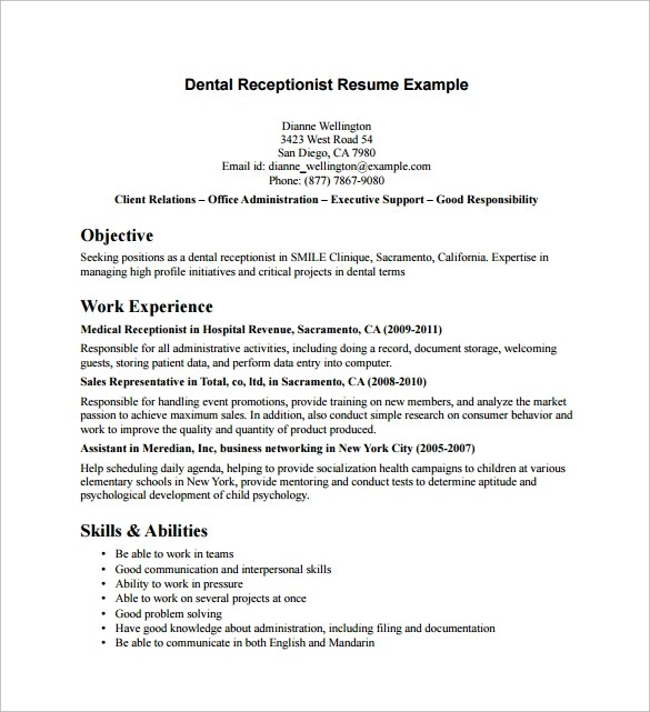 Example Of Receptionist Resume
