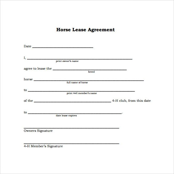 Horse Lease Agreement 8 Simple Lease Agreement Template – Sample Horse Lease Agreement