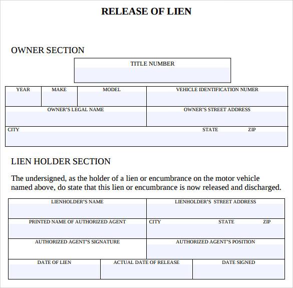 Letter Of Lien Release Template   Docoments Ojazlink