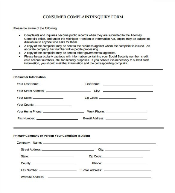 Sample Consumer Complaint Form 7 Free Documents In PDF Word