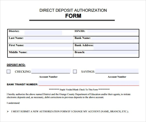 Free 7 Sample Direct Deposit Authorization Forms In