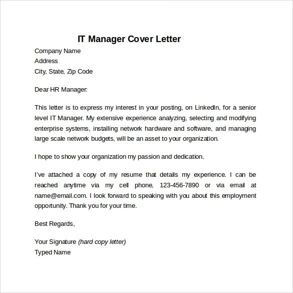 8 Information Technology Cover Letter Templates To Download Sample Templates