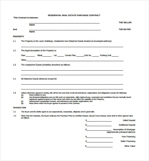 Real Estate Contract Template 14 Download Free Documents In PDF Word