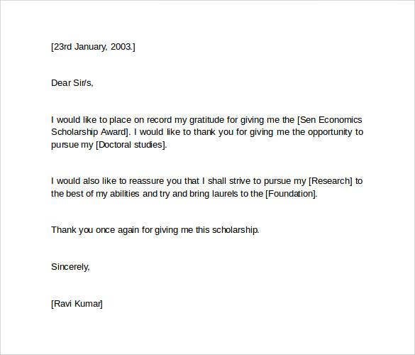 Scholarship Thank You Letter Sample Sample Of Thank You Letter – Thank You Letter for Scholarships