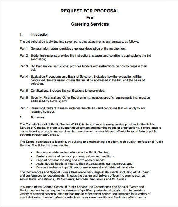 catering proposal letter – Sample Catering Proposal Template
