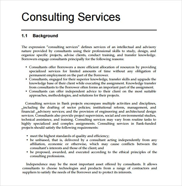 Consultant Proposal Template 7 Download Documents In PDF Word Sample Templates