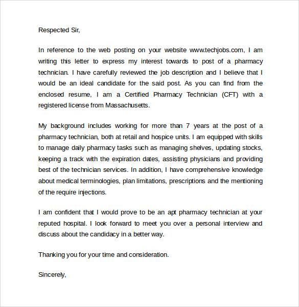 Pharmacist Technician Letter | Docoments Ojazlink