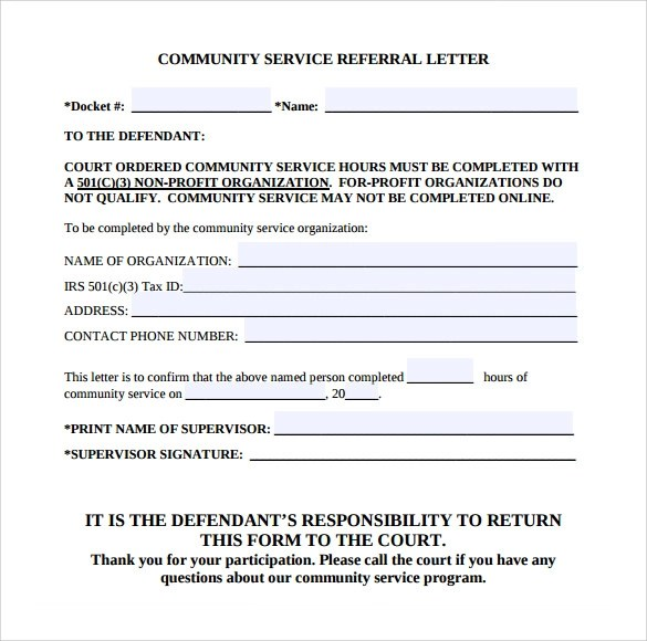Court Ordered Community Service Form Template  Free Download
