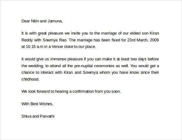 Marriage Invitation Email