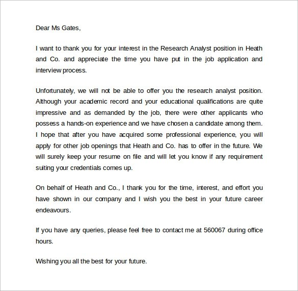 Interview Rejection Thank You Letter  Docoments Ojazlink