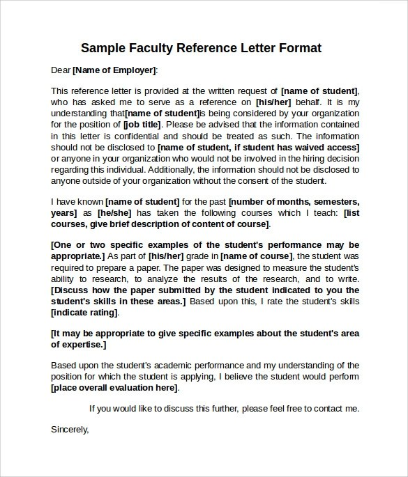 8 Sample Reference Letter Formats Examples To Download Sample Templates
