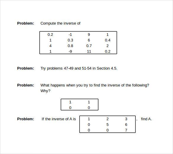 Free 11 Sample Math Worksheet Templates In