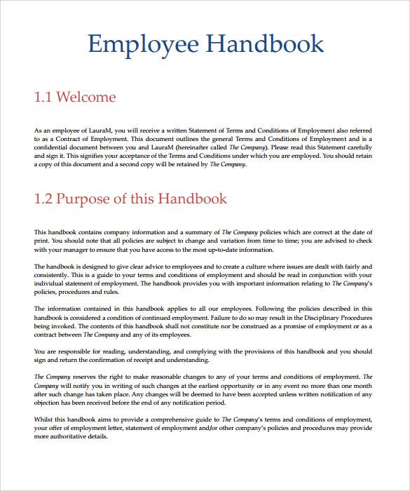 Employee Handbook Sample 7 Download Documents In PDF Word