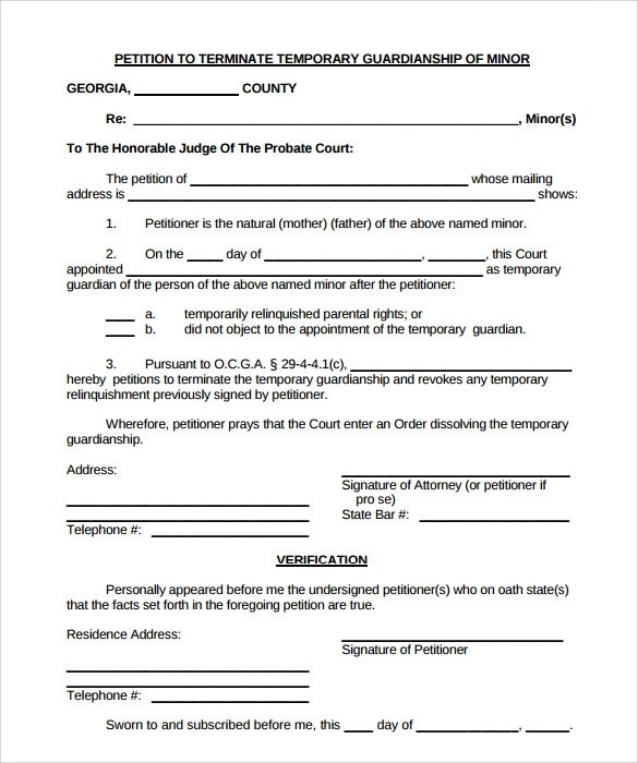 Sample Letter For Temporary Guardianship | Docoments Ojazlink