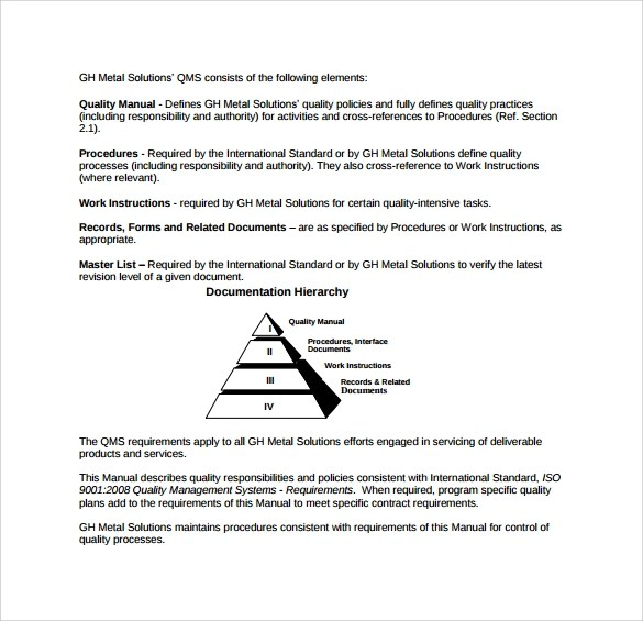 Sample Quality Manual Template 9 Free Documents In PDF Word