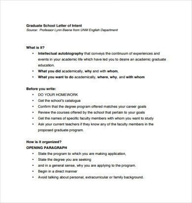 Sample Letter Of Intent For Grad School Admission - Cover Letter ...