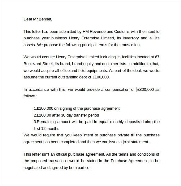 Letter Of Intent To Purchase Business Sample Purchase Letter Of – Letter of Intent to Purchase Business Template