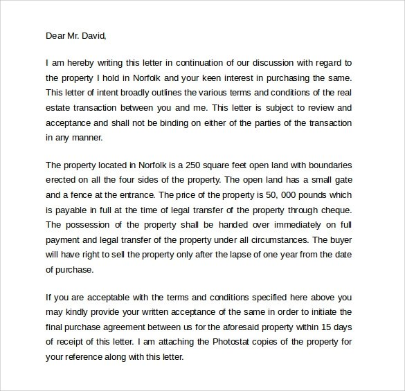 Letter of intent for real estate purchase template gottayotti letter expocarfo Image collections