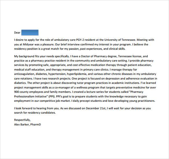 4 Pharmacy Residency Letter Of Intent Samples Sample