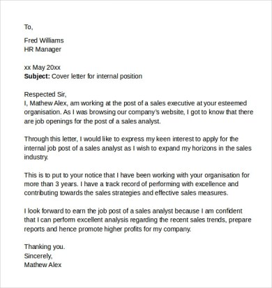 image result internal job cover letter resume for promotion template