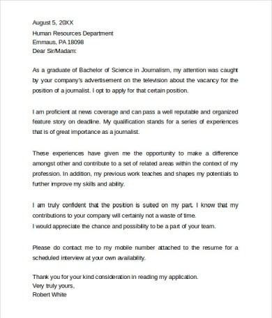 Good Journalism Cover Letter