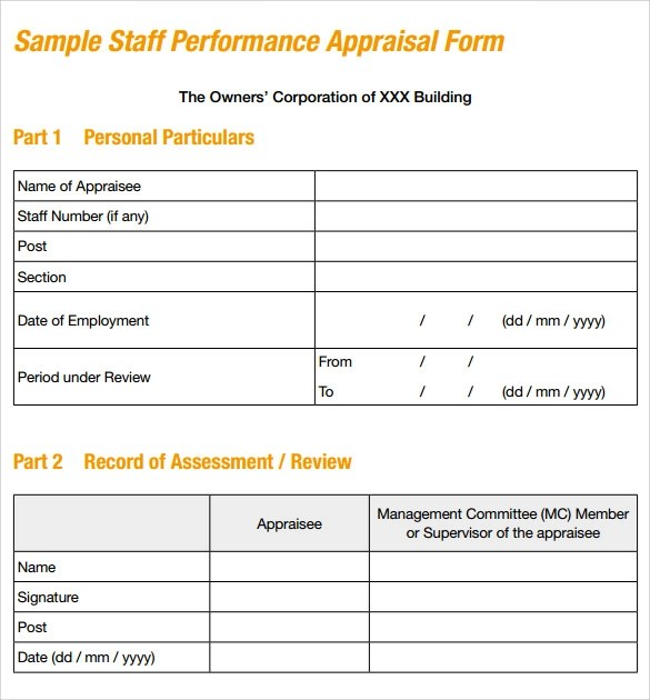 Sample Job Performance Evaluation Form 7 Documents In