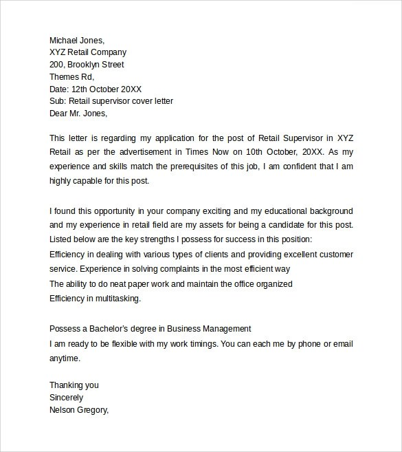 Qualification Examples Letter
