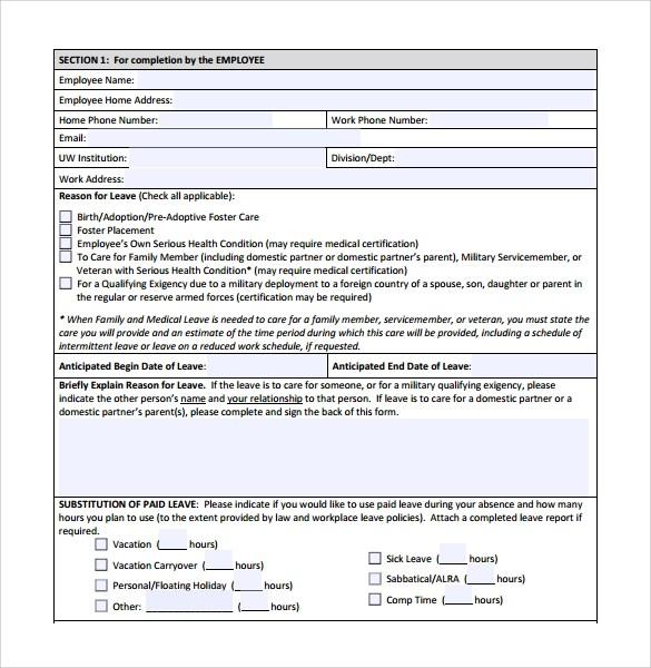 Doc.#12401754: Leave Form Templates – Format Of Leave Application