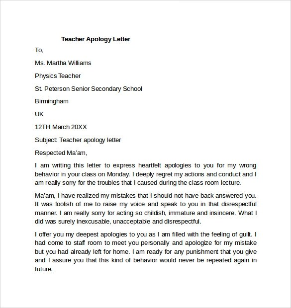 Sample Apology Letter To Teacher Sample Personal Apology Letter – Example of a Apology Letter