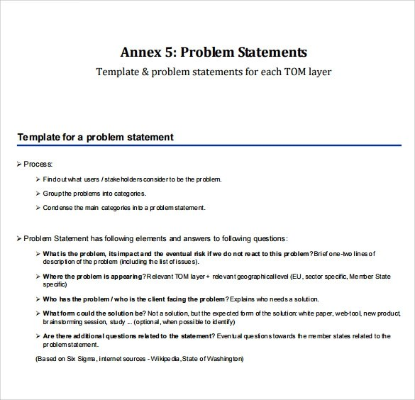 problem statement templates free download
