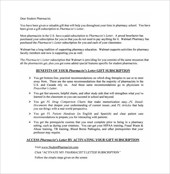 Pharmacist Letter 16 Free Samples Examples Format