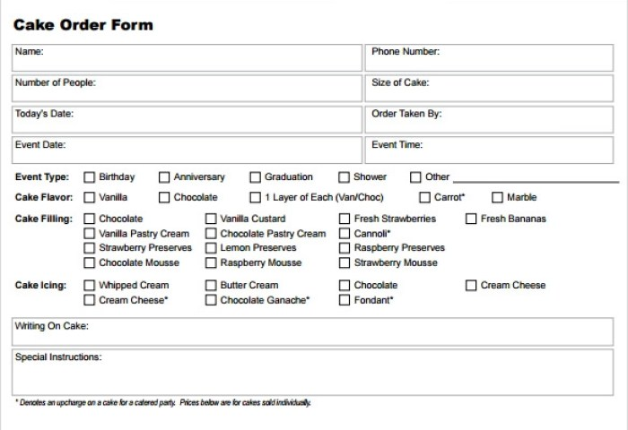 Sample Cake Order Form Template 16 Free Documents Download In