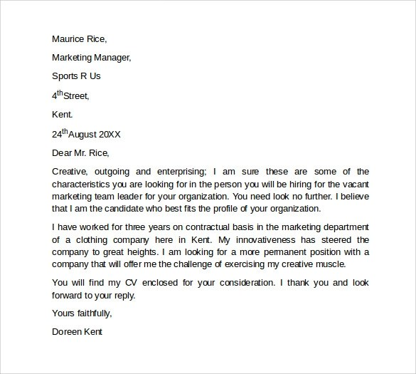 10 Marketing Cover Letter Template Examples To Download Sample Templates