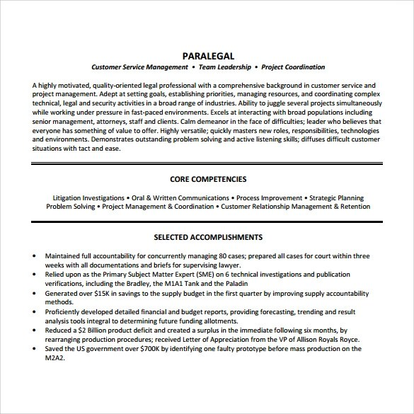 12 Paralegal Resume Templates To Download Sample Templates