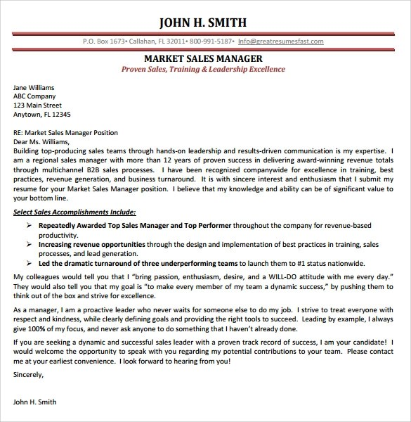 9 Sales Cover Letter Templates Samples Examples Amp Format Sample Templates