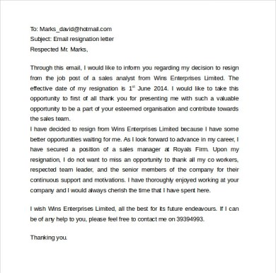 Business Letter Email Contract Template