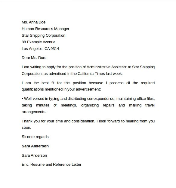 Administrative Assistant Cover Letter Template 9 Free Samples Examples Amp Format
