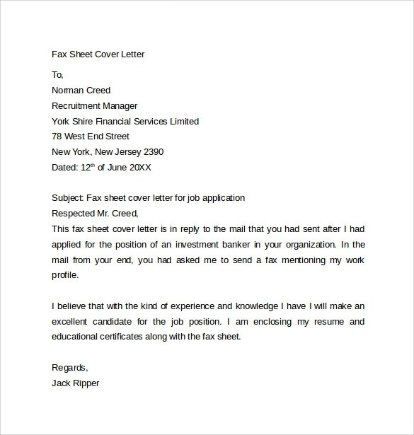 Cover Word Template Fax Letter