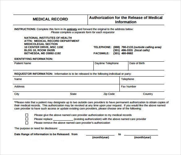 general medical records release form sample free download - Medical Records Release Form