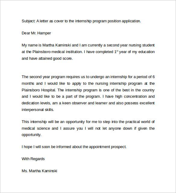 Nursing Internship Cover Letter Examples