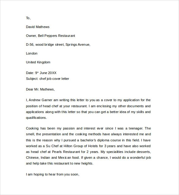 Cover Letters For Chefs Career FAQs  Cover Letter For Chef