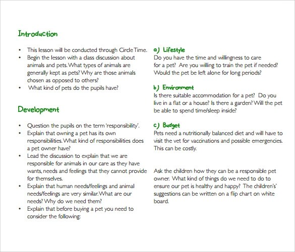 Sample Toddler Lesson Plan 9 Example Format