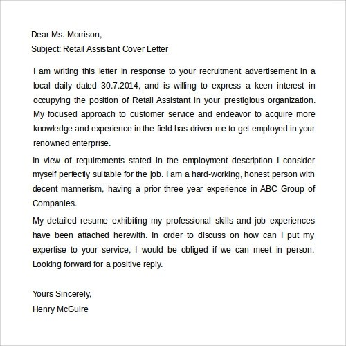 Sample Cover Letter Template 19 Download Free Documents In Word