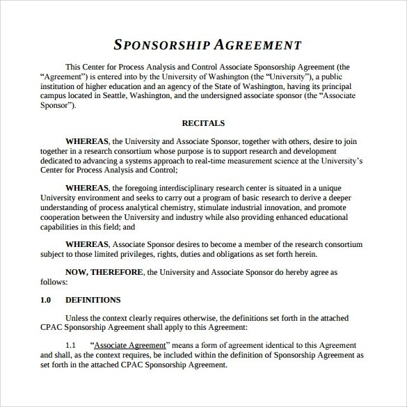 Sponsorship Agreement Letter | Docoments Ojazlink