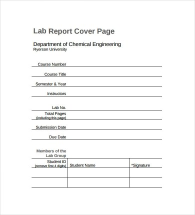 Lab Report Cover Page Template Cover Letter Templates