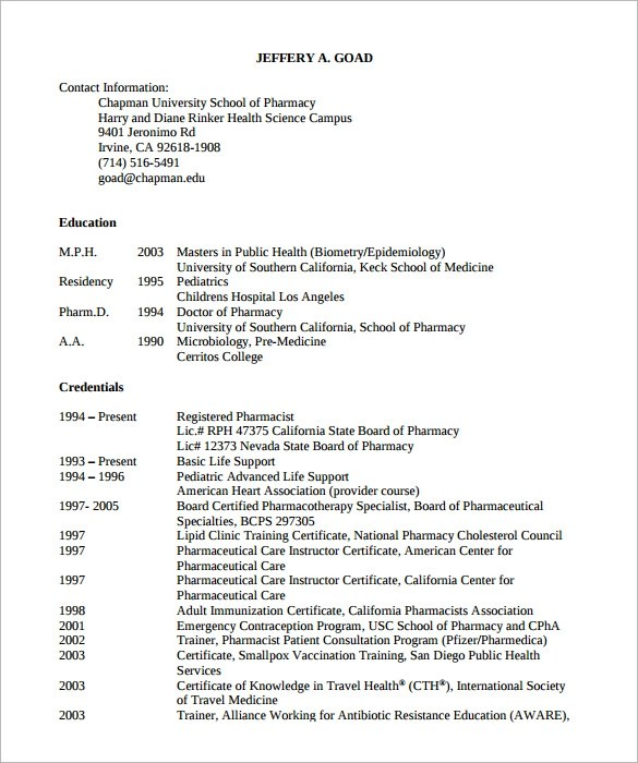 Sample Pharmacist Resume 9 Doents In Pdf  Pharmacy School Resume