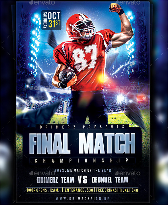Spectacular Football Flyer Template 14 Download Documents In Vector EPS PSD