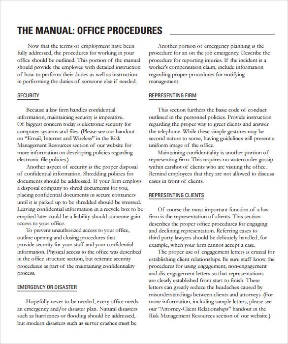 Homeowners Manual Template: Office Procedures Manual Template