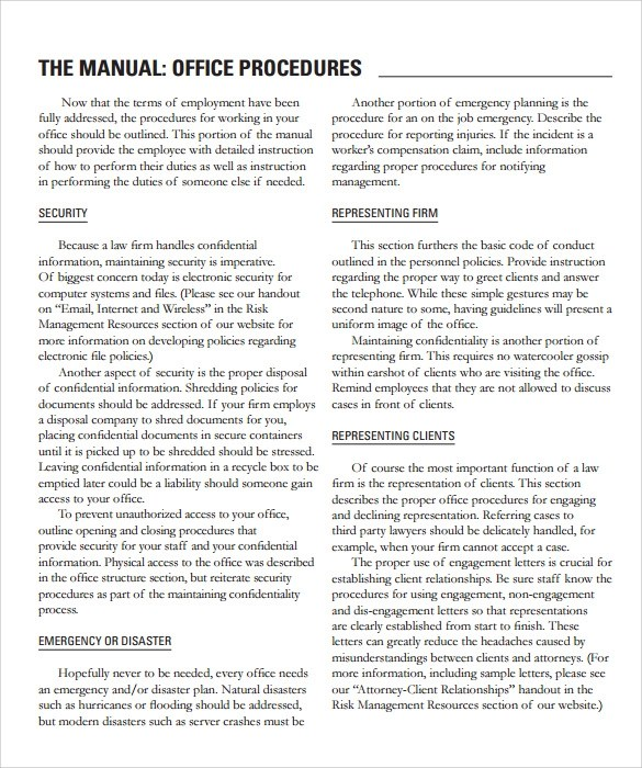 office procedures manual template